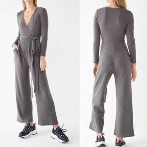 Urban Outfitters | Cozy Ribbed Knit Wrap Jumpsuit